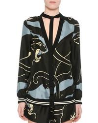 Valentino Silk Tiger Print V Neck Cardigan With Bow Gray