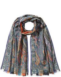Charcoal Print Silk Scarf