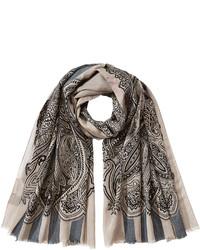 Etro Wool Silk Blend Printed Scarf