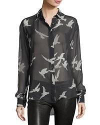 Saint Laurent Bird Print Sheer Silk Shirt