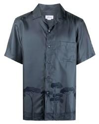 Brioni Tree Print Silk Shirt
