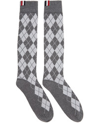 Thom Browne Grey Argyle Intarsia Over The Calf Socks