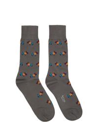Paul Smith Grey Artist Dog Socks