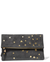 Clare Vivier Clare V Margot Metallic Printed Suede Clutch Anthracite