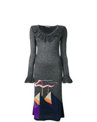 Marco De Vincenzo Metallic Knit Patterned Dress