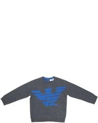 Armani Junior Logo Cotton Jacquard Sweater