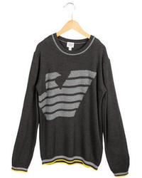 Armani Junior Boys Logo Patterned Crew Neck Sweater W Tags
