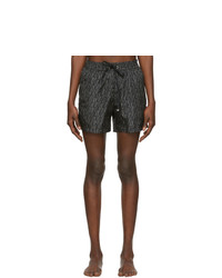 Salvatore Ferragamo Black And Off White Signature Print Swim Shorts