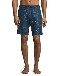Orlebar Brown Lawrence Paddlin Print Relaxed Fit Swim Trunks Navy