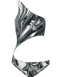 Norma Kamali Shane One Shoulder Cutout Printed Swimsuit