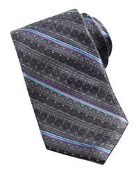 Robert Graham Swirl Floral Striped Silk Tie Charcoal