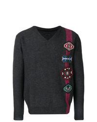 Charcoal Print V-neck Sweater