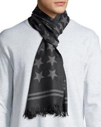 John Varvatos Star Print Wool Scarf Shadow