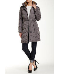 Cole Haan Belted Down Faux Rabbit Fur Collar Coat