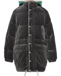 Sacai Faux Shearling Trimmed Cotton Velour Down Jacket