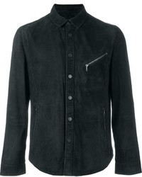 John Varvatos Fitted Zip Detail Button Down Jacket
