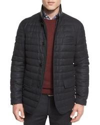 Ermenegildo Zegna Flannel Wool Channel Quilted Down Jacket