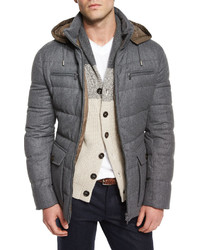 Brunello Cucinelli Milan Quilted Down Hooded Jacket Gray