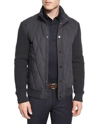 Ermenegildo Zegna Quilted Ribbed Sleeve Down Jacket Gray