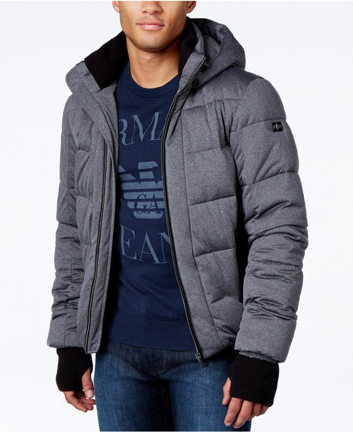 7e7a5115c580 Armani Jeans Quilted Ribbed Trim Puffer Coat With Hood