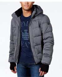 Armani Jeans Quilted Ribbed Trim Puffer Coat With Hood
