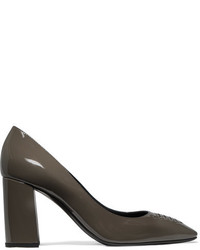 Bottega Veneta Intrecciato Patent Leather Pumps Gray