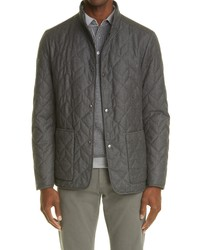 Canali Quilted Water Repellent Wool Cashmere Jacket