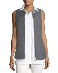 Lafayette 148 New York Bailey Alpine Outerwear Quiltedflannel Combo Vest