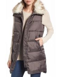 Sam Edelman Faux Fur Trim Long Quilted Vest
