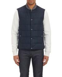 Vince Herringbone Puffer Vest Blue