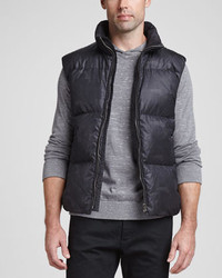 Theory Printed Quilted Puffer Vest Black