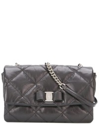 Charcoal Quilted Leather Crossbody Bag