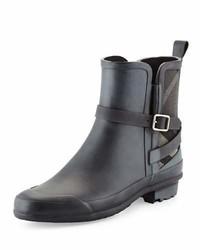 5b5c966f90ad6b ... Burberry Riddlestone Check Panel Rain Boot