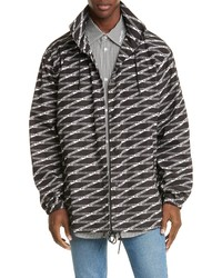 Balenciaga Logo Graphic Hooded Rain Jacket