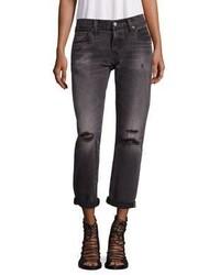 Levi's 501 Distressed Cuffed Boyfriend Jeans