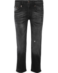 R 13 R13 Boy Distressed Slim Boyfriend Jeans Charcoal