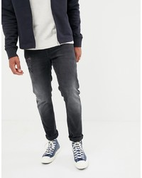 ASOS DESIGN 125oz Slim Jeans In Washed Black With Abrasions