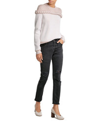 High rise jeans with distressed detail medium 3758567