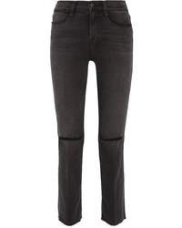 Le high distressed mid rise straight leg jeans gray medium 1251739
