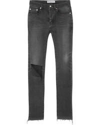 Balenciaga Distressed High Rise Skinny Jeans Charcoal