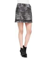 Andrew Marc X Richard Chai Distressed Plaid Shimmery Miniskirt
