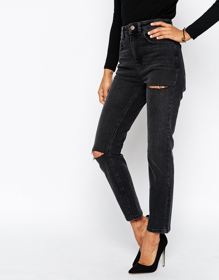 Asos Collection Farleigh High Waist Slim Mom Jeans In Washed Black ...