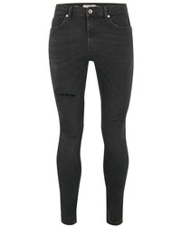 Topman Dark Gray Wash Coated Spray On Jeans