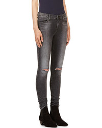 J Brand Grey Distressed Super Skinny Jeans | Where to buy & how to ...