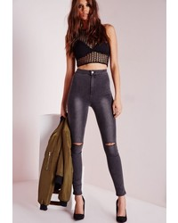 c89533d7e6fb Missguided Vice Super Stretch High Waisted Ripped Knee Skinny Jeans Grey