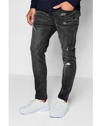 Boohoo Skinny Fit Ankle Grazer Jeans Single Knee Rip