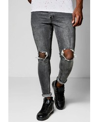 Boohoo Skinny Fit Charcoal Jeans With Ripped Knees