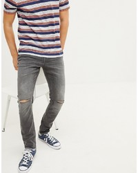 Esprit Stretch Skinny Fit Jeans In Grey With Knee Rips