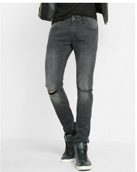 Express Super Skinny Gray Ripped Stretch Jeans