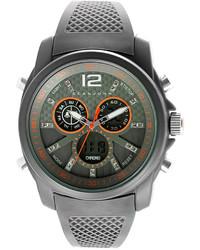 Sean John Analog Digital Gray Silicone Strap Watch 46mm 10024433